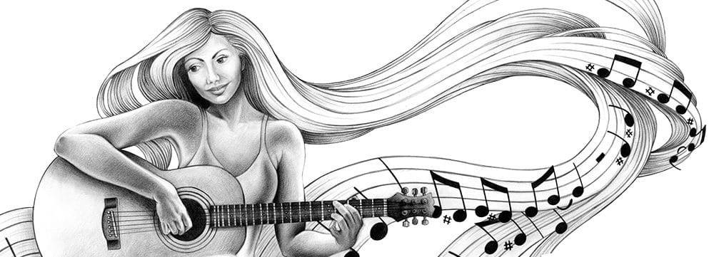 guitarist LANDSCAPE drawing