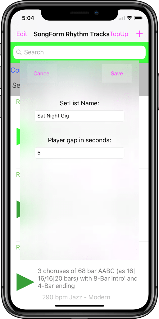 En us iPhone X 04 SetListConfigScreen indrammet