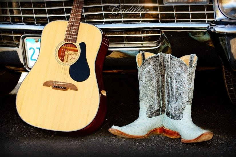 free country music wallpapers x for iphone GuitarBoots against Cadilac